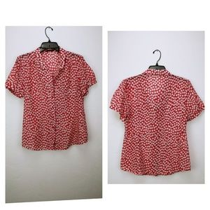 Lux red and white blouse